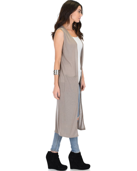 Cover Me Up Long-line Taupe Cardigan Vest With Pockets