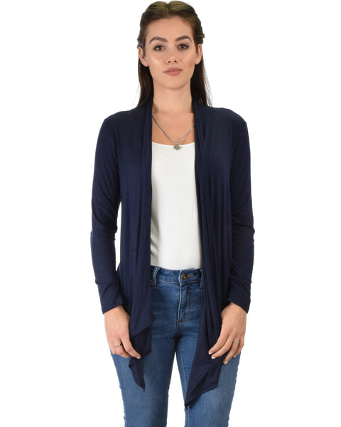 Throw It On Long Sleeve Draped Navy Cardigan