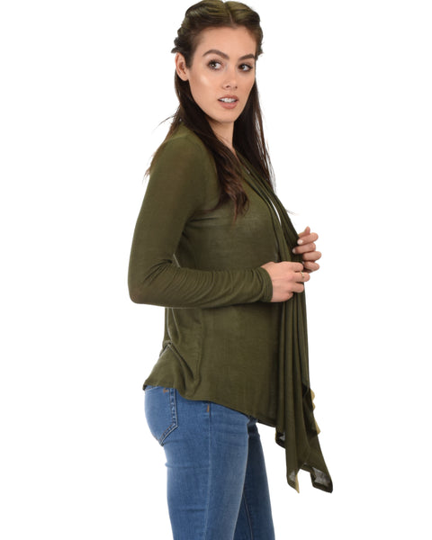 Throw It On Long Sleeve Draped Olive Cardigan