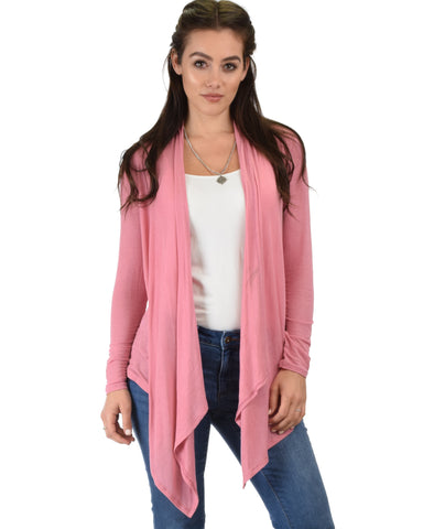 Throw It On Long Sleeve Draped Pink Cardigan