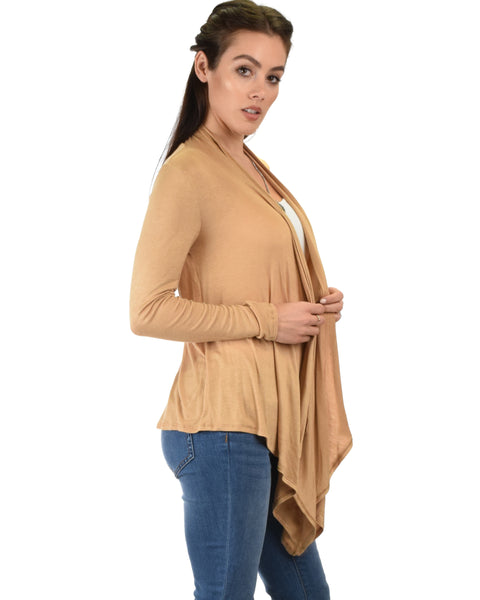 Throw It On Long Sleeve Draped Taupe Cardigan