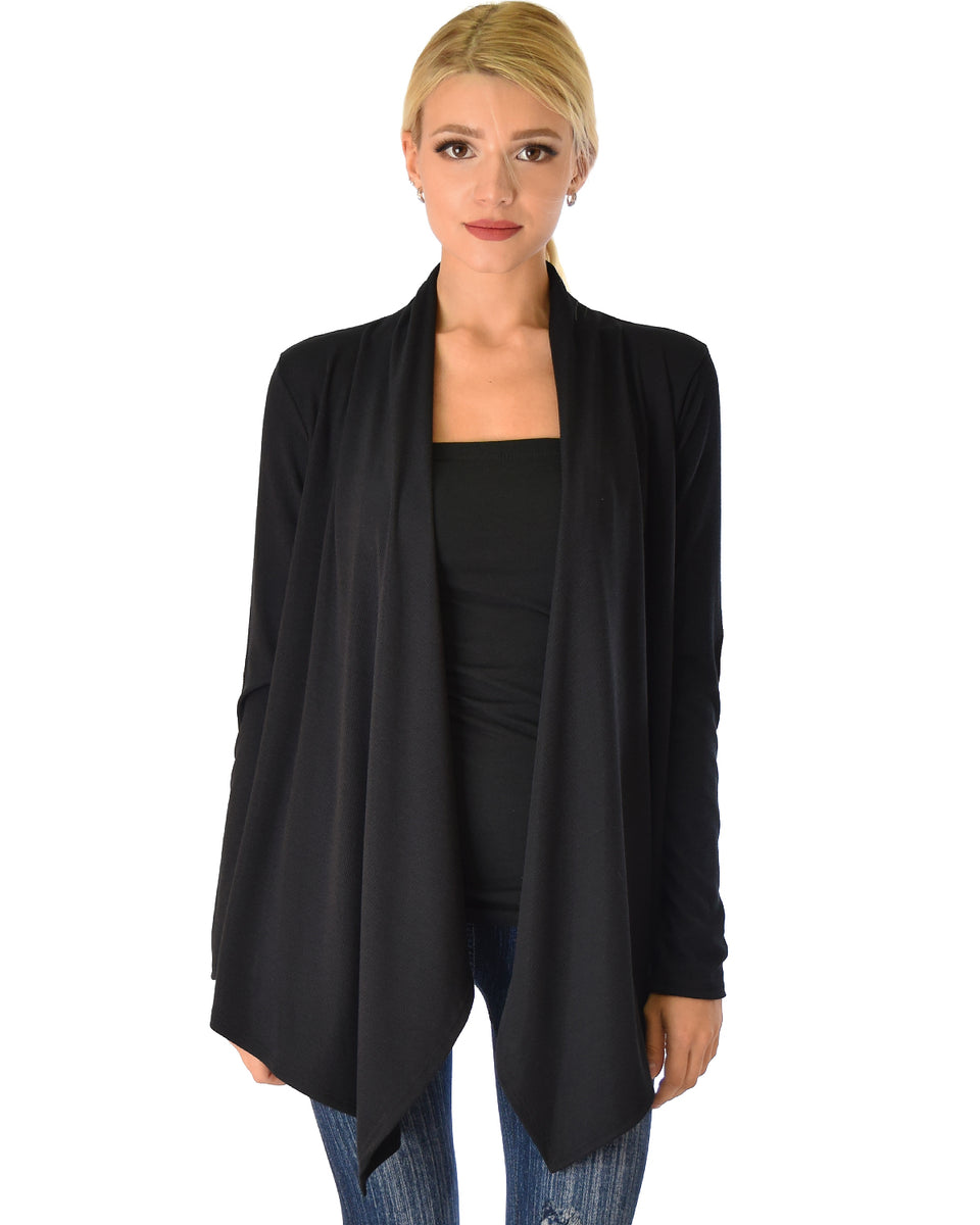 Ribbed Black Cardigan Sweater with Suede Elbow Patch ... 6f8bc5ab1