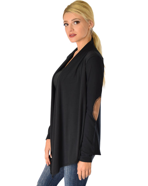 Ribbed Black Cardigan Sweater with Suede Elbow Patch