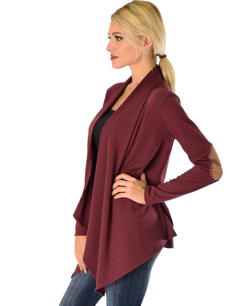 Ribbed Burgundy Cardigan Sweater with Suede Elbow Patch