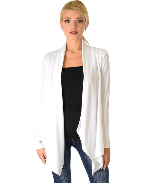 Ribbed Ivory Cardigan Sweater with Suede Elbow Patch