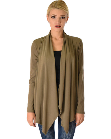 Ribbed Olive Cardigan Sweater with Suede Elbow Patch