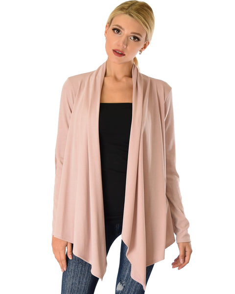 Ribbed Mauve Cardigan Sweater with Suede Elbow Patch