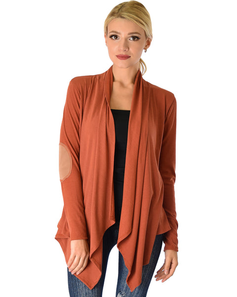 Ribbed Rust Cardigan Sweater with Suede Elbow Patch