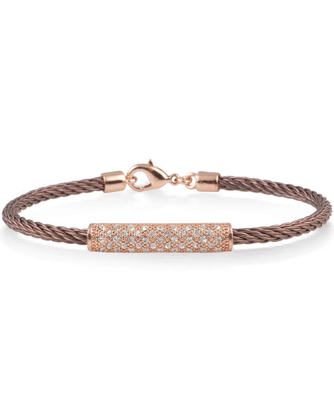 Bronze Cable Bracelet With Cubic Zirconia Crystal Rose Bar