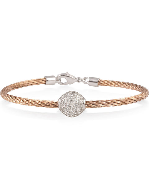 Rose Cable Bracelet With White Crystal Ball