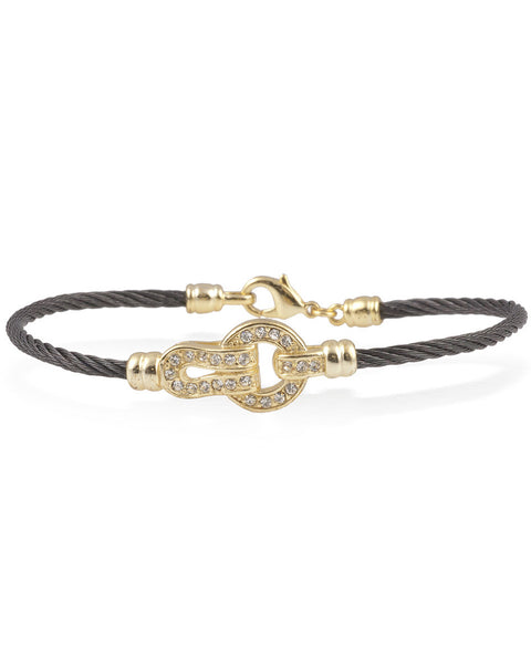 Black Cable Bracelet With Cubic Zirconia And Gold Buckle