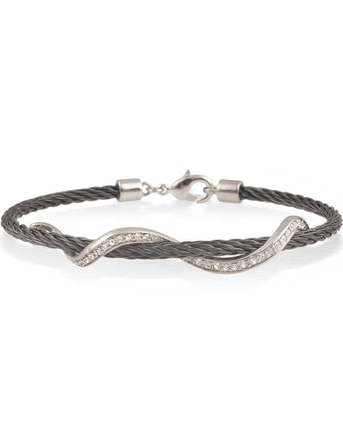Black Cable Bracelet With Stainless Steel Wave Bar