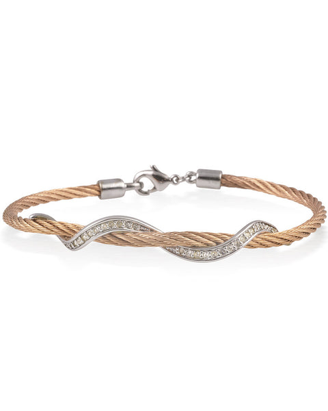 Rose Cable Bracelet With Stainless Steel Wave Bar