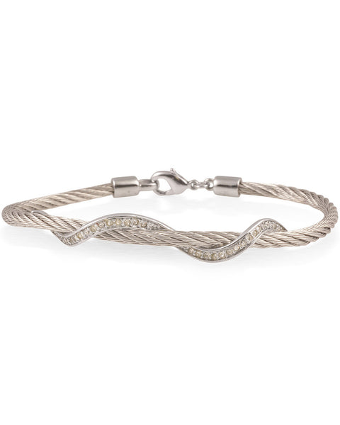 Silver Cable Bracelet With Stainless Steel Wave Bar