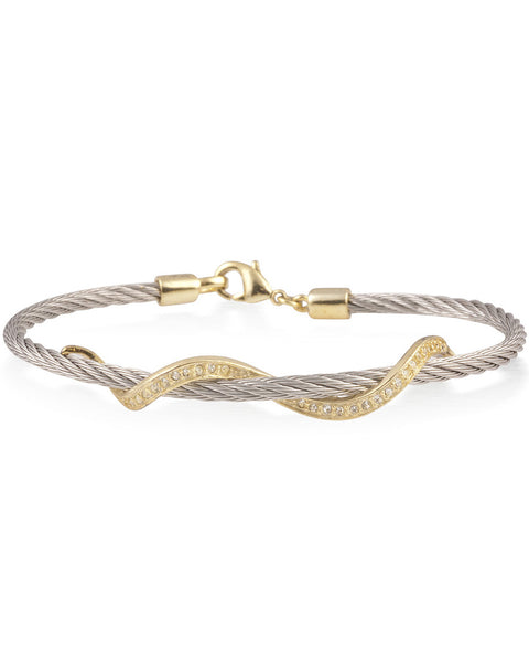 Silver Cable Bracelet With Gold Stainless Steel Wave Bar