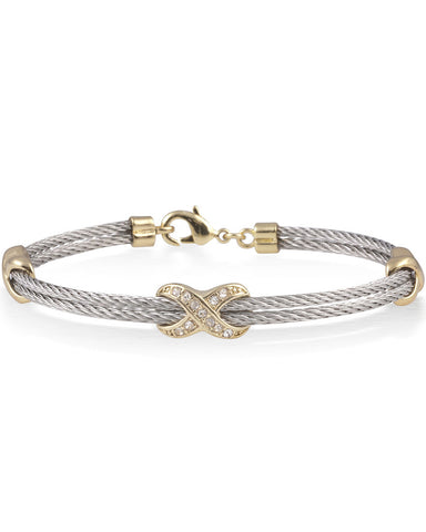 Silver Cable Bracelet With Gold Plated Stainless Steel