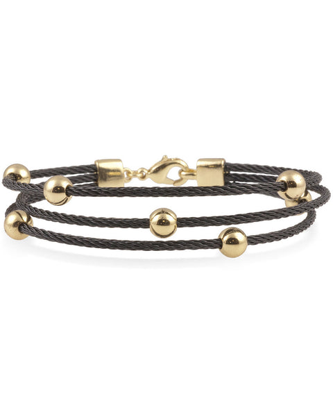 Black Multi-Strand Cable Bracelet With Gold Plated Balls