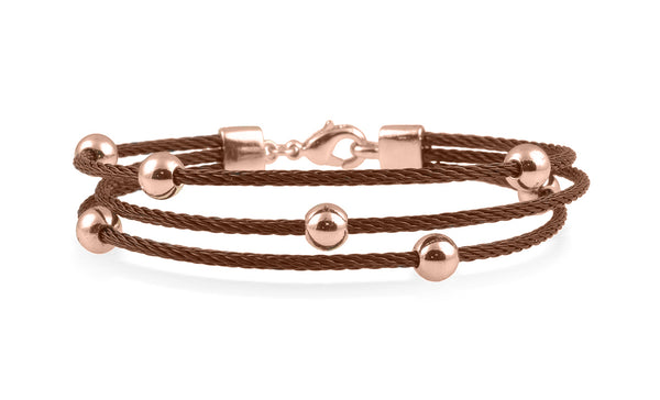 Bronze Multi-Strand Cable Bracelet With Gold Plated Balls