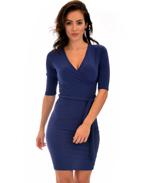 Ride or Tie Bodycon Navy Wrap Dress