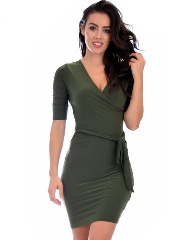 Ride or Tie Bodycon Olive Wrap Dress