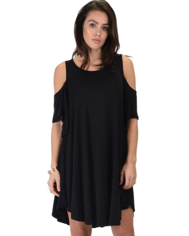 Sun Kissed Cold Shoulder Draped Black Tunic Dress