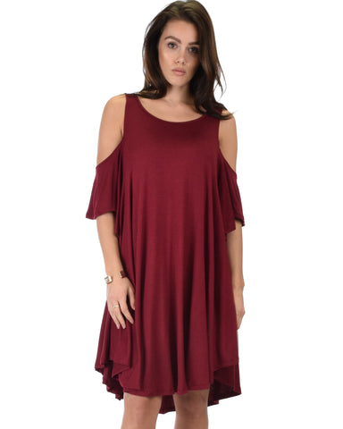 Sun Kissed Cold Shoulder Draped Burgundy Tunic Dress