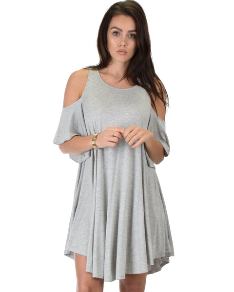 Sun Kissed Cold Shoulder Draped Grey Tunic Dress