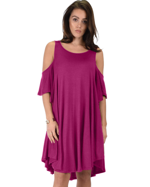 Sun Kissed Cold Shoulder Draped Magenta Tunic Dress