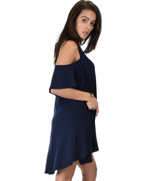 Sun Kissed Cold Shoulder Draped Navy Tunic Dress
