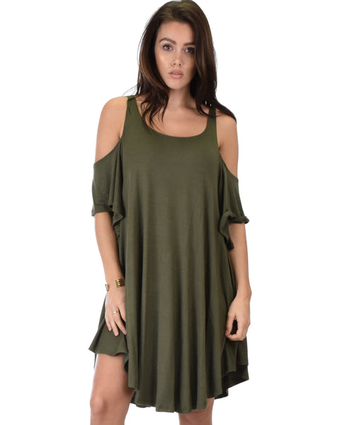 Sun Kissed Cold Shoulder Draped Olive Tunic Dress