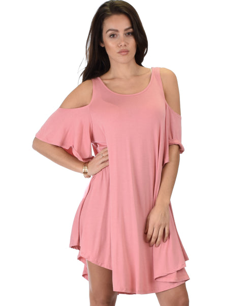 Sun Kissed Cold Shoulder Draped Pink Tunic Dress