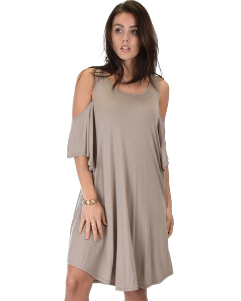 Sun Kissed Cold Shoulder Draped Taupe Tunic Dress