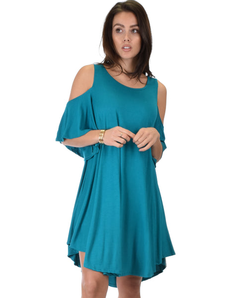 Sun Kissed Cold Shoulder Draped Teal Tunic Dress