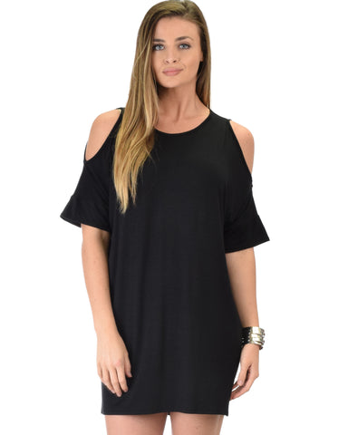 Sun Kissed Shoulder Black Tunic Dress