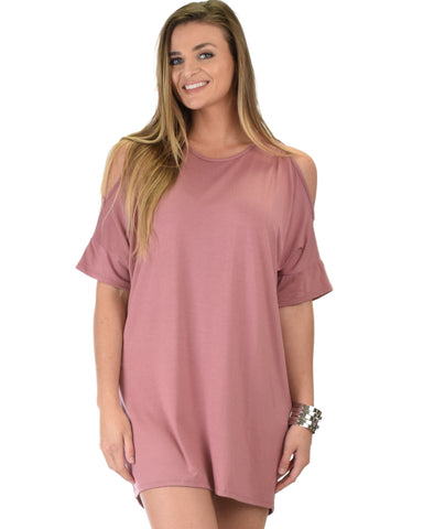 Sun Kissed Shoulder Mauve Tunic Dress