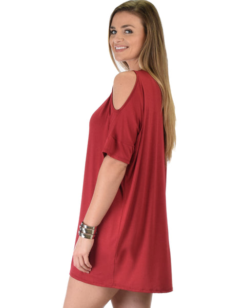Sun Kissed Shoulder Burgundy Tunic Dress