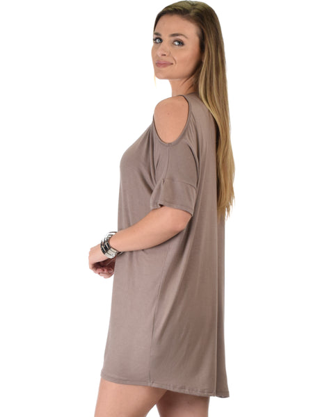 Sun Kissed Shoulder Taupe Tunic Dress