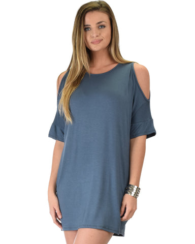 Sun Kissed Shoulder Teal Tunic Dress