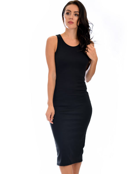 Hourglass Bodycon Black Midi Dress