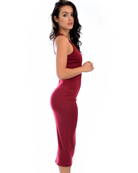 Hourglass Bodycon Burgundy Midi Dress