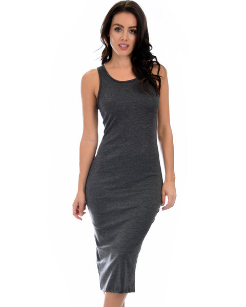 Hourglass Bodycon Charcoal Midi Dress