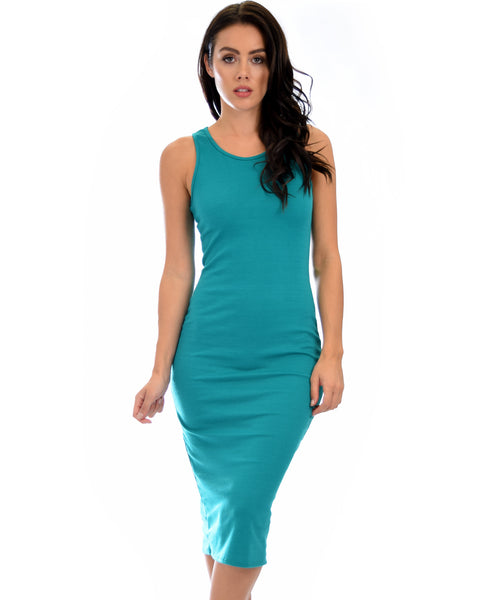 Hourglass Bodycon Green Midi Dress