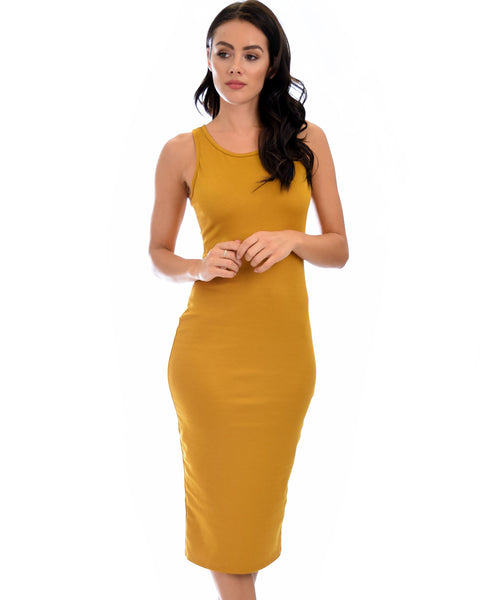 Hourglass Bodycon Mustard Midi Dress