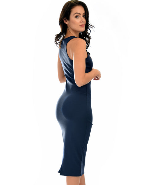 Hourglass Bodycon Navy Midi Dress