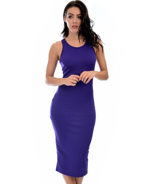 Hourglass Bodycon Purple Midi Dress