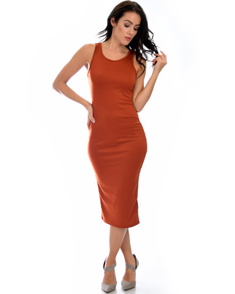 Hourglass Bodycon Rust Midi Dress