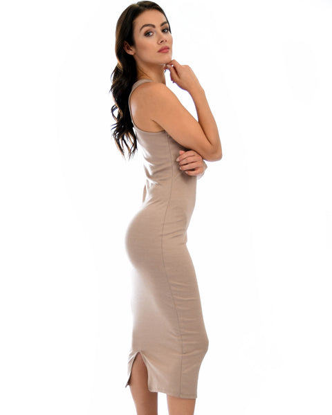 Hourglass Bodycon Taupe Midi Dress