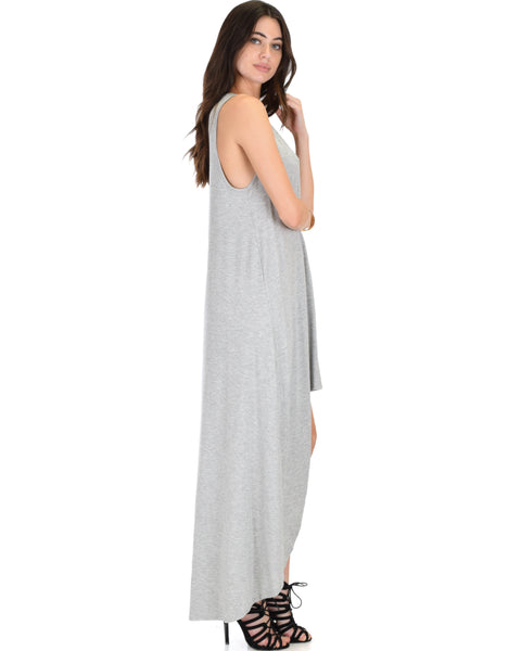 Rock & Ready Sleeveless Hi-low Grey Maxi Dress