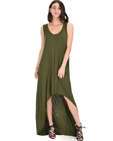 Rock & Ready Sleeveless Hi-low Olive Maxi Dress