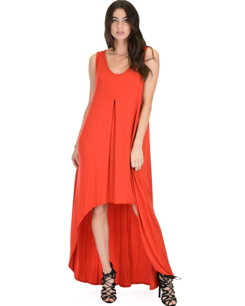 Rock & Ready Sleeveless Hi-low Rust Maxi Dress